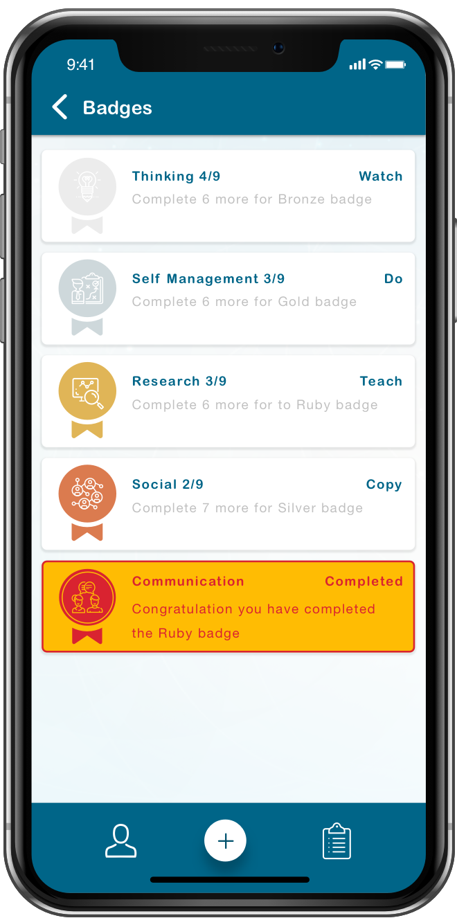Tracker App's mobile app tab in which the student can view their achievements in terms of badges