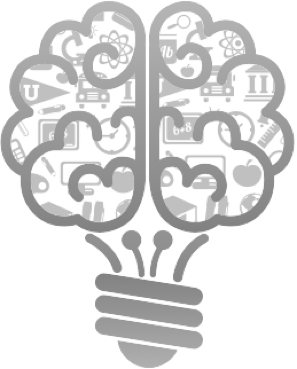Tracker App's cartoon logo that shows the bottom of a light bult under a brain with several education-related vectors inside